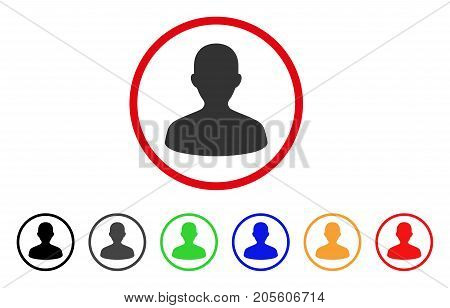 User icon. Vector illustration style is a flat iconic user gray rounded symbol inside red circle with black, gray, green, blue, red, orange color additional versions.