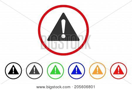 Warning icon. Vector illustration style is a flat iconic warning gray rounded symbol inside red circle with black, gray, green, blue, red, orange color versions.