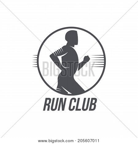 Run club logo, logotype template with jogging man, black and white vector illustration isolated on white background. Run club logo, badge design with half length side view portrait of running man