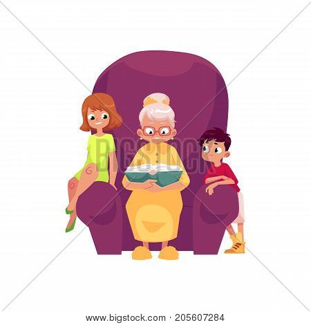 vector flat cartoon small boy, girl kids listening to grandmother reading book, sitting at chair. Isolated illustration on a white background. Grandparents and children relationship concept