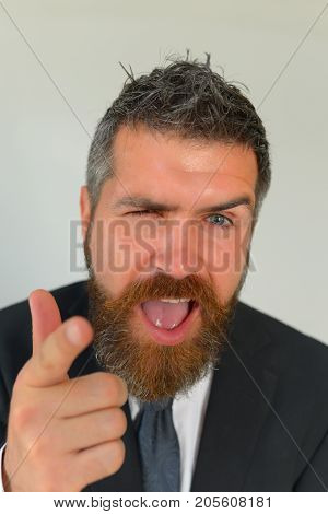 Guy With Ginger Beard In Dark Formal Suit