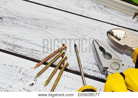 Repair Hand Tools Kit On Work Desk