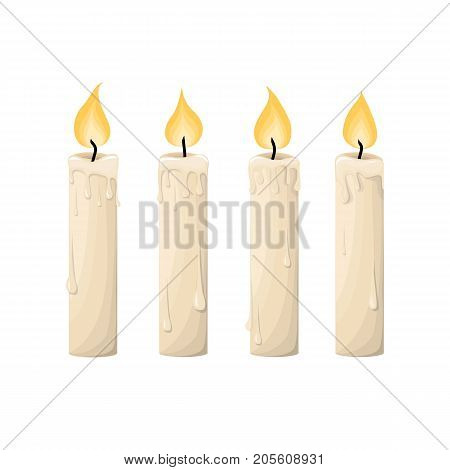 Candles. Vector Illustration. Set Of Candles In Flat Cartoon Style. Isolated