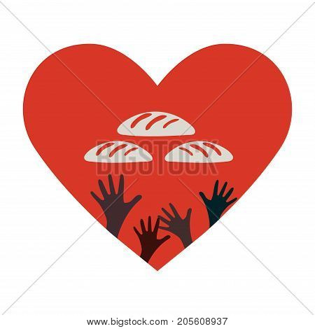 Stop Hunger, Malnutrition or Starvation vector illustration. Donation, relief or help icon for fight with famine and poverty in Yemen, Somalia or South Sudan. Heart, Hands and bread silhouettes.