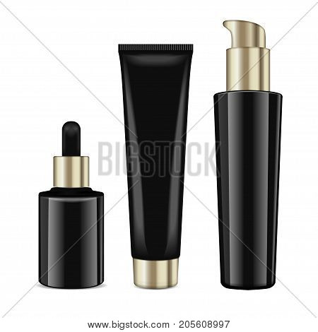 Realistic cosmetic black bottles with gold caps. Vector containers for cream and tubes for cream, lotion, gel, balsam, foundation cream. 3d Illustration for your design