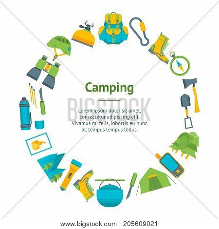 Cartoon Traveling Camping and Hiking Banner Card Circle Flat Design Style Outdoor Summer Leisure. Vector illustration