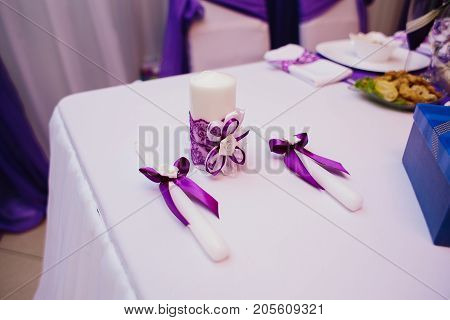 banquet hall or other function facility set for fine dining. selective focus