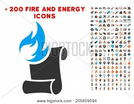 Burn Manuscript pictograph with bonus flame icon set. Vector illustration style is flat iconic elements for web design, application ui.