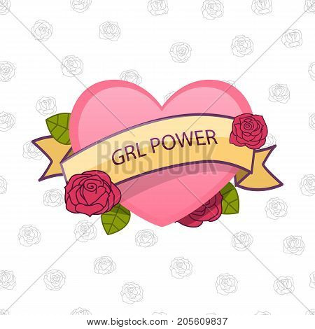 Grl Power. Feminism Sign. Vector. Pink Heart With Flowers And Ribbon.