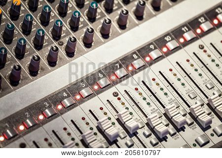 Closeup of Sound Mixing Console in use