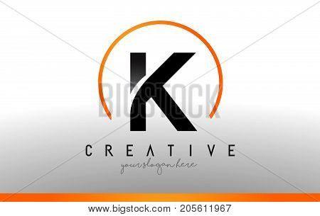 K Letter Logo Design With Black Orange Color. Cool Modern Icon Template.