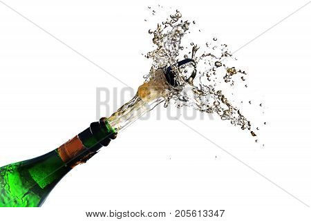 champagne bottle explosion with cork popping splash isolated against a white background copy space selected focus motion blur