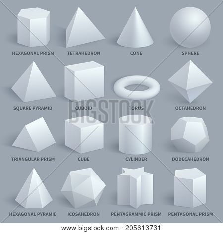 Realistic white basic 3d shapes vector set. Geometry form for education illustration. Hexagonal and prism, tetrahedron and cone, sphere and pyramid