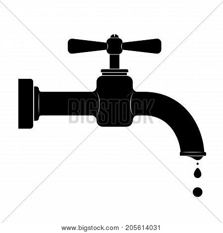 Black outline of an old faucet with a patella. Problems of saving drinking water. Turn off the water supply. Run a water supply