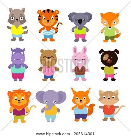 Cute cartoon baby animals vector set. Collection of color animals koala and lion, elephant and tiger, bear and fox, hippo and rabbit illustration