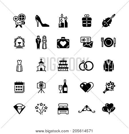 Bridal vector symbols. Wedding vector black silhouette icons isolated on white. Collection of wedding icons black silhouette illustration