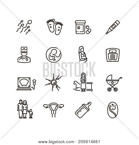 Pregnancy and newborn child line vector icons. Motherhood and infant baby pictograms. Woman pregnancy and motherhood, infant baby line style and gynecology illustration poster
