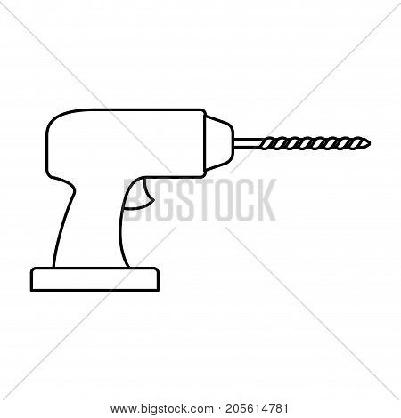 drill tool icon monochrome silhouette vector illustration