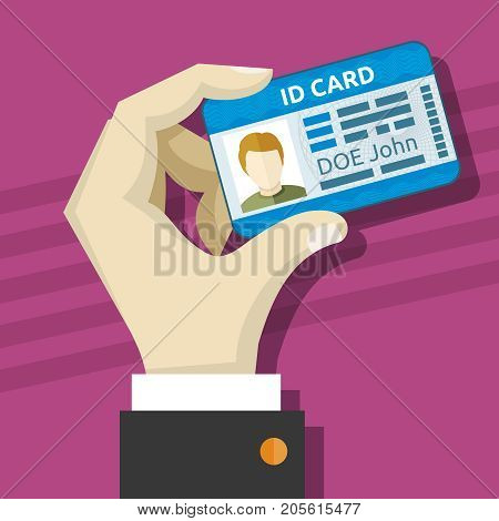 Male hand holding id card with photo vector illustration. Id identity card with photo in hand
