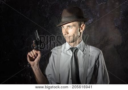 Black And White Picture Of Private Detective With Gun In Both Hands. Agent Stay Front To Camera. Cri