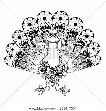 Doodle style sketch of turkey, thin black line on white stock vector illustration