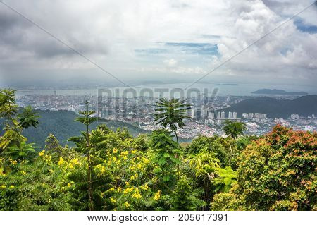 Top view of Georgetown, capital of Penang, Malaysia from top of Penang hill.