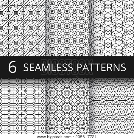 Monochrome line geometrical vector seamless patterns. Delicate simple wallpaper repeat texture set. Illustration of pattern geometric line mosaic collection
