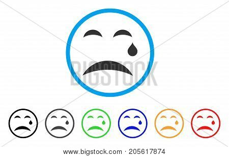Cry Smile rounded icon. Style is a flat cry smile gray symbol inside light blue circle with black, gray, green, blue, red, orange color versions. Vector designed for web and software interfaces.