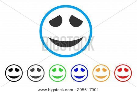 Embarassed Smile rounded icon. Style is a flat embarassed smile grey symbol inside light blue circle with black, gray, green, blue, red, orange color versions.