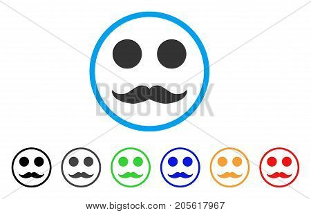 Gentleman Mustaches Smile rounded icon. Style is a flat gentleman mustaches smile gray symbol inside light blue circle with black, gray, green, blue, red, orange versions.