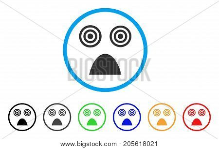 Horror Smile rounded icon. Style is a flat horror smile gray symbol inside light blue circle with black, gray, green, blue, red, orange variants. Vector designed for web and software interfaces.