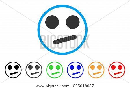 Indifferent Smiley Smile rounded icon. Style is a flat indifferent smiley smile grey symbol inside light blue circle with black, gray, green, blue, red, orange versions.