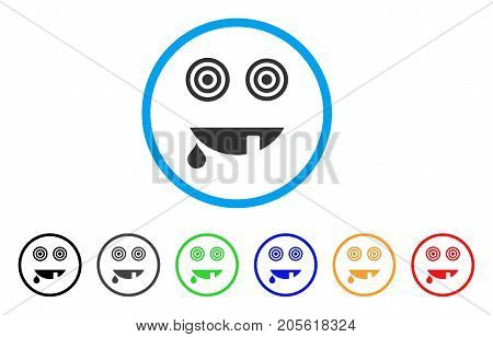 Maniac Smile rounded icon. Style is a flat maniac smile grey symbol inside light blue circle with black, gray, green, blue, red, orange color versions. Vector designed for web and software interfaces.