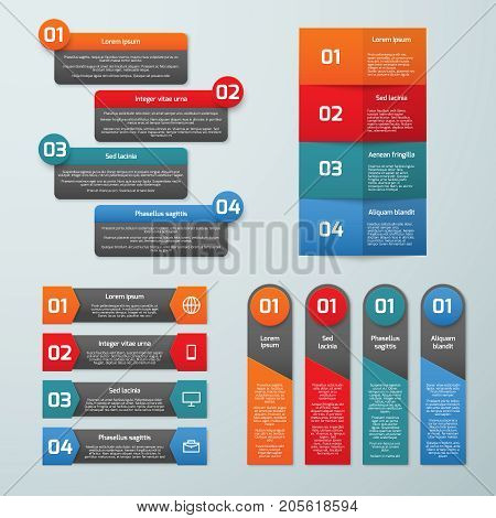 Step by step options vector infographic templates. Information tabs and presentation banners set. Step business colored brochure, infographic number order illustration