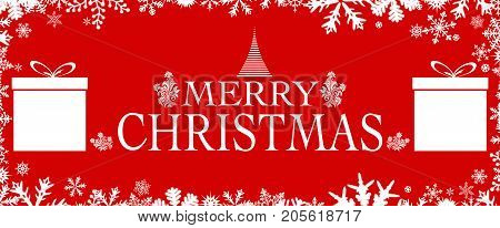 View on a beauutiful Christmas Illustaration with Snowflakes, white Text, Gifs and decorative ornaments on red Background. Christmas Backgrounds and Banner.
