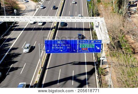Madrid Spain february 2010: view of M30 Motorway in Madrid