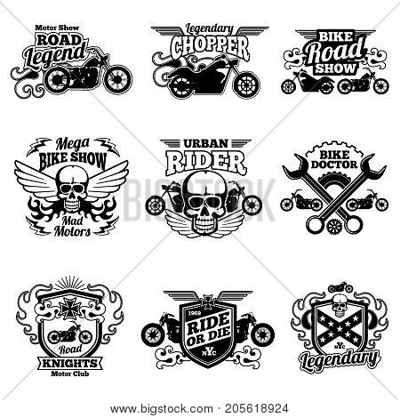 Motorbike club vintage vector patches. Motorcycle racing labels and emblems. Motorcycle emblem club classic, vintage chopper illustration