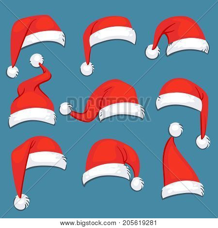 Christmas santa claus red cartoon hats isolated vector set. Santa claus hat, christmas holiday clothing costume cap illustration