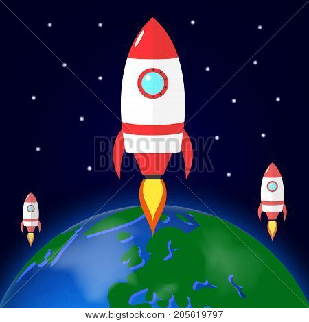 Rocket launch from planet Earth. Spaceship in space. Colonization. Vector illustration on dark background.
