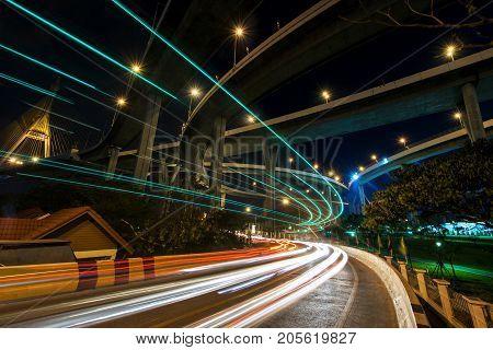 Light Trail Under Bhumibol Bridge, Bangkok