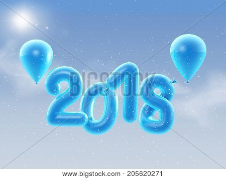 3D illustration of 2018 Happy new year balloons. Happy New Year background with blue number balloons.