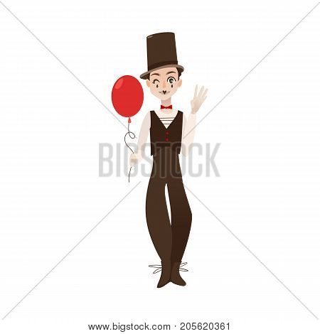 vector flat cartoon man clown in black and white suit, red bowtie top hat holding air balloon in hands. Artist, mime creative people from france concept. Isolated illustration on a white background.