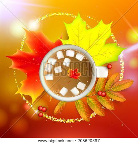 Banner with maple autumn leaves and rowan branches with ashberry and cup of coffee with marshmallow on a orange background. Autumn maple leaf and rowan branches with ashberry and cup of coffee with marshmallow on a orange background. Vector illustration