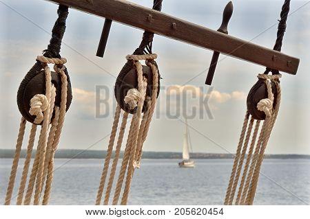 Sails on a sailboat sailing around the Adriatic coast in Croatia.