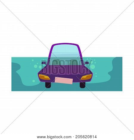 vector flat cartoon stylized drowing car. Purple colored funny toy-like vehicle, Automobile natural accident insurance concept. Isolated illustration on a white background.