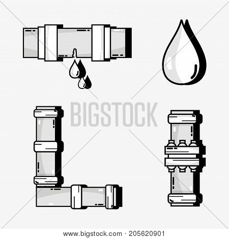 set tubes objects with water drops vector illustration