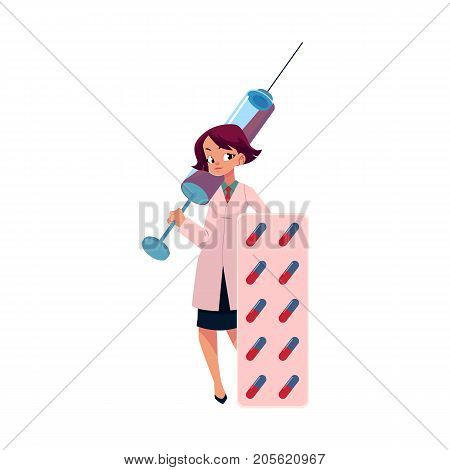 Young woman doctor holding huge medical syringe and blister of pills, cartoon vector illustration isolated on white background. Cartoon woman doctor with huge medical syringe and pills