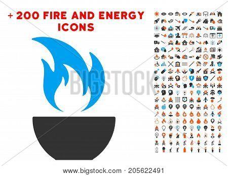 Fire Bowl pictograph with bonus power pictograms. Vector illustration style is flat iconic symbols for web design, application user interface.