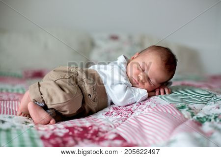 Beautiful Little Newborn Baby Boy, Dressed As Little Gentlemen, Sleeping In Bed
