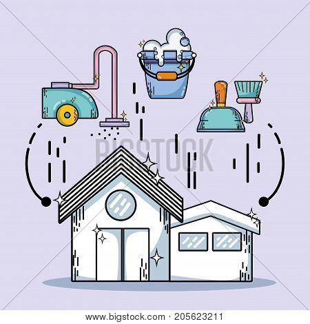 housework domestic service to clean home vector illustration